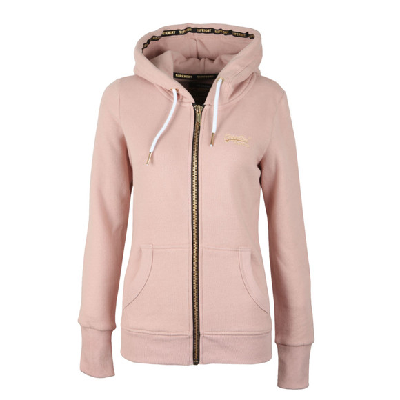 Superdry Womens Pink Orange Label Elite Zip Hoody main image