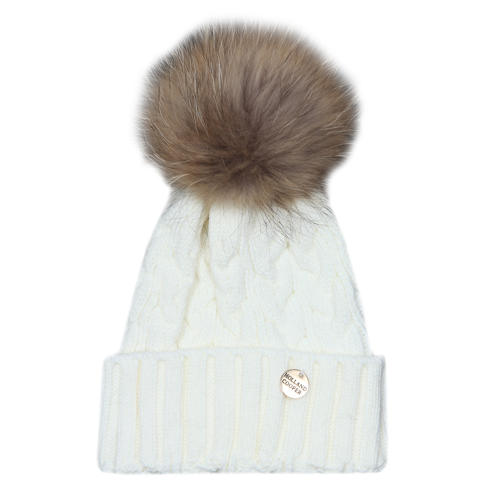 c28804f59b4 close. Cable Knit Faux Fur Bobble Hat main image