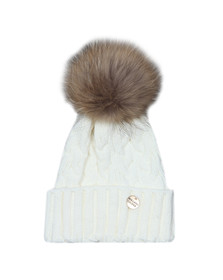 Holland Cooper Womens Off-White Cable Knit Faux Fur Bobble Hat