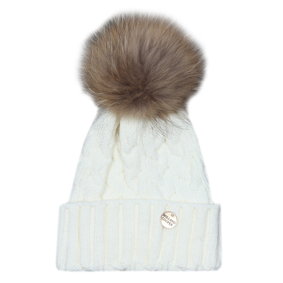 Holland Cooper Womens Off-white Cable Knit Fur Bobble Hat main image