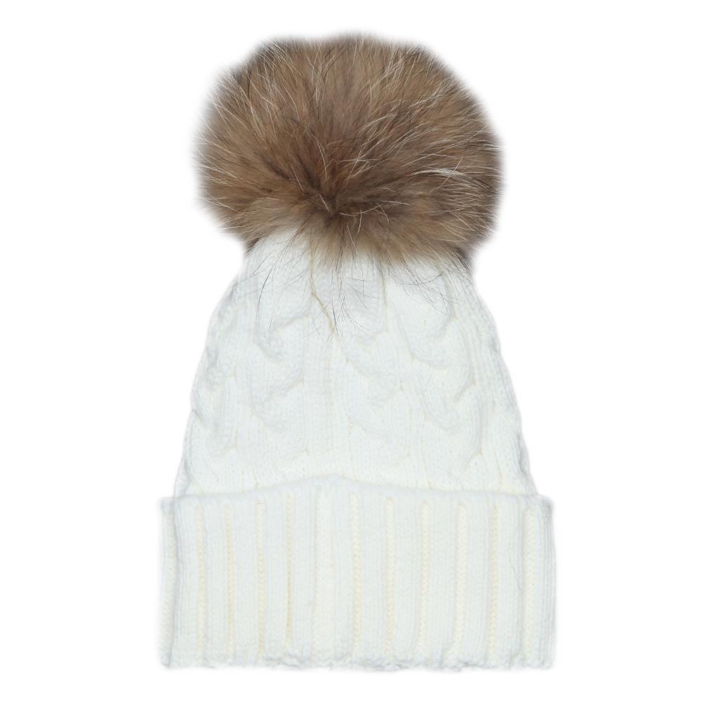 Cable Knit Fur Bobble Hat main image