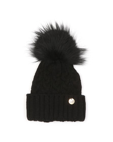 Holland Cooper Womens Black Cable Knit Fur Bobble Hat