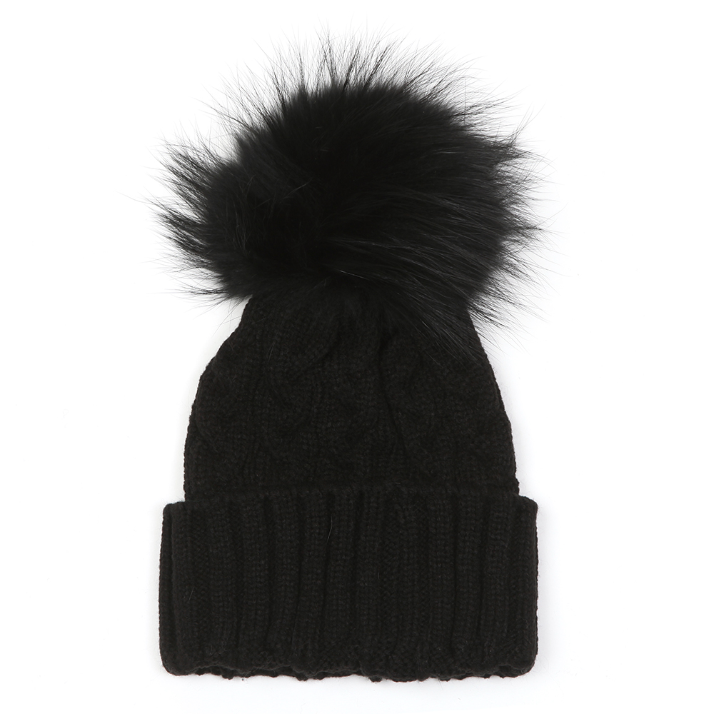 Holland Cooper Cable Knit Faux Fur Bobble Hat  c279f821154