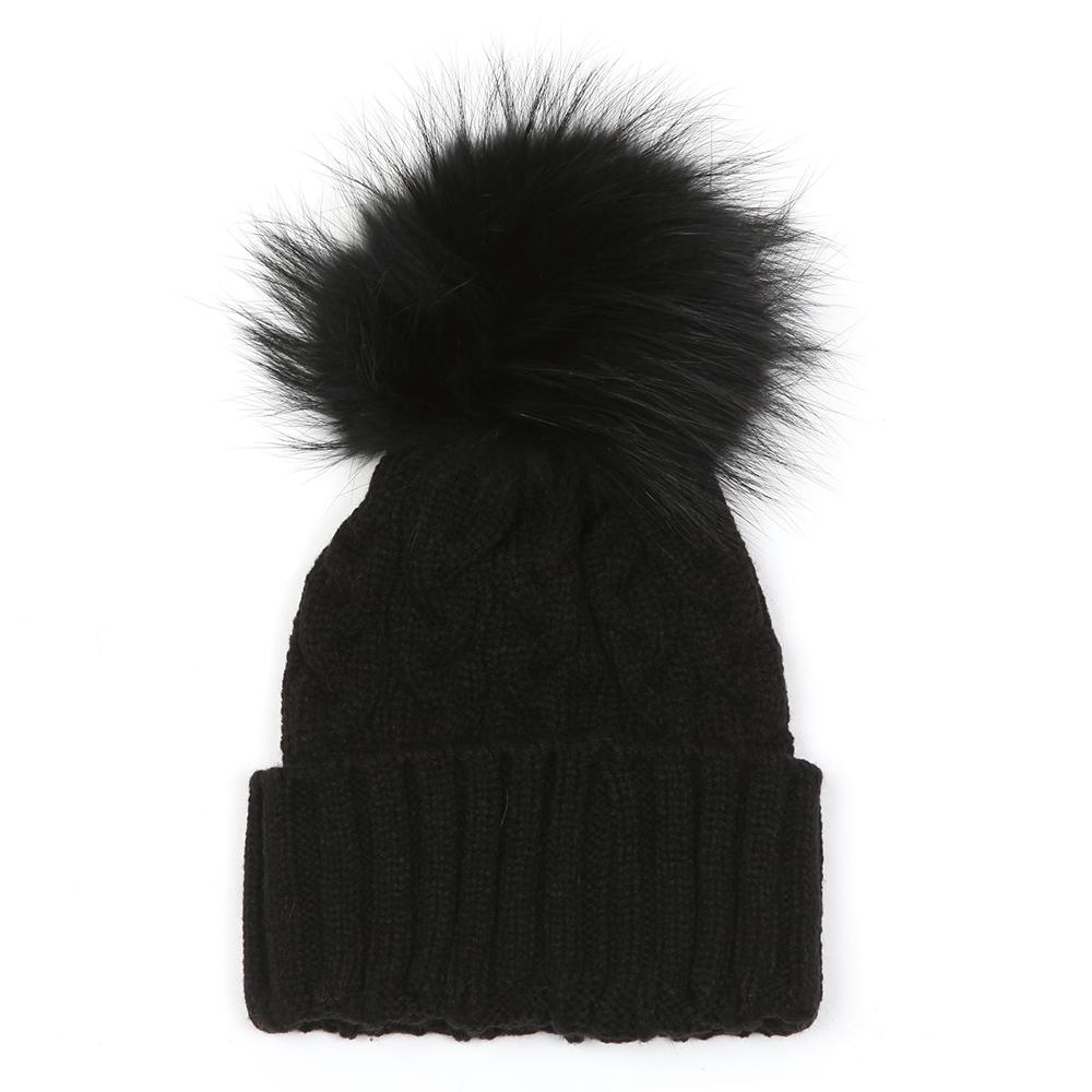 Holland Cooper Cable Knit Faux Fur Bobble Hat  c279f821154