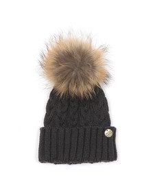 Holland Cooper Womens Grey Cable Knit Fur Bobble Hat