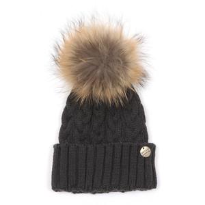 Cable Knit Fur Bobble Hat