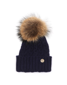 Holland Cooper Womens Blue Cable Knit Fur Bobble Hat