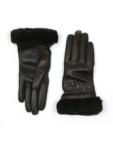 Ugg Womens Black Classic Leather Logo Glove