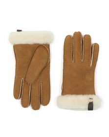 Ugg Womens Brown Shorty Glove With Leather Trim