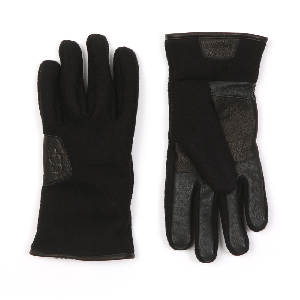 06ab0c0e12a28 Ugg Mens Black Fabric & Leather Gloves main image. Loading zoom