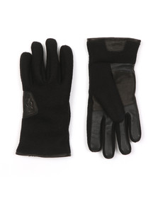 Ugg Mens Black Fabric & Leather Gloves