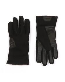 Ugg Mens Black Fabric & Leather Gloves