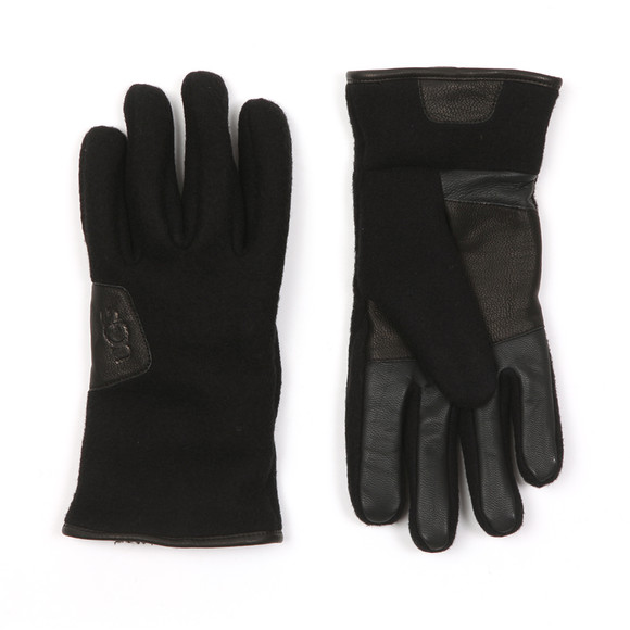 Ugg Mens Black Fabric & Leather Gloves main image