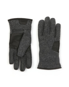 Ugg Mens Grey Fabric & Leather Gloves