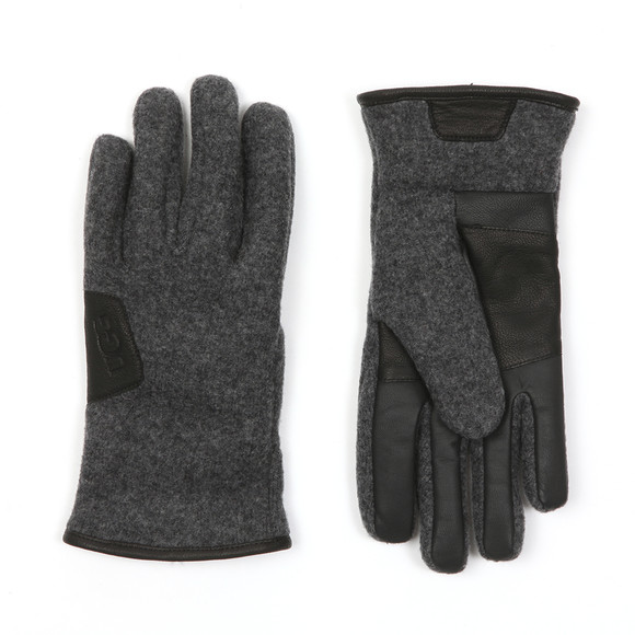 Ugg Mens Grey Fabric & Leather Gloves main image