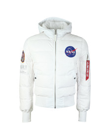 Alpha Industries Mens White Apollo 11 Hooded Puffer