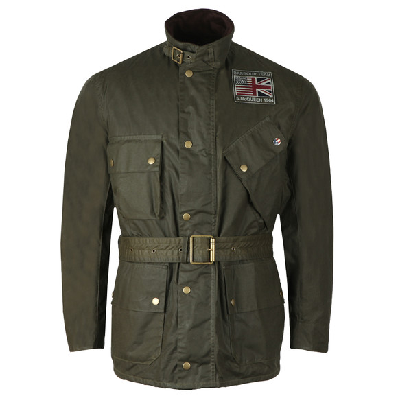 Barbour Int. Steve McQueen Mens Green Joshua Wax Jacket main image