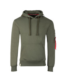 Alpha Industries Mens Green Printed Tape Hoody