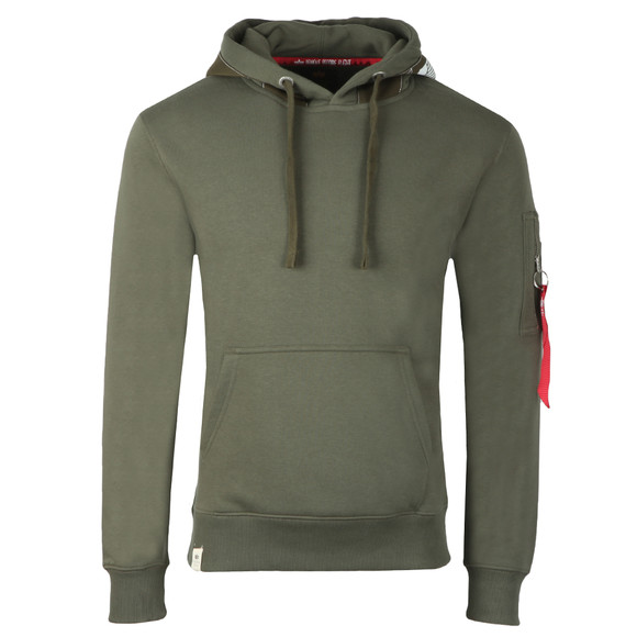 Alpha Industries Mens Green Printed Tape Hoody main image