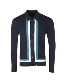 Pretty Green Mens Blue Contrast Panel Knitted Shirt