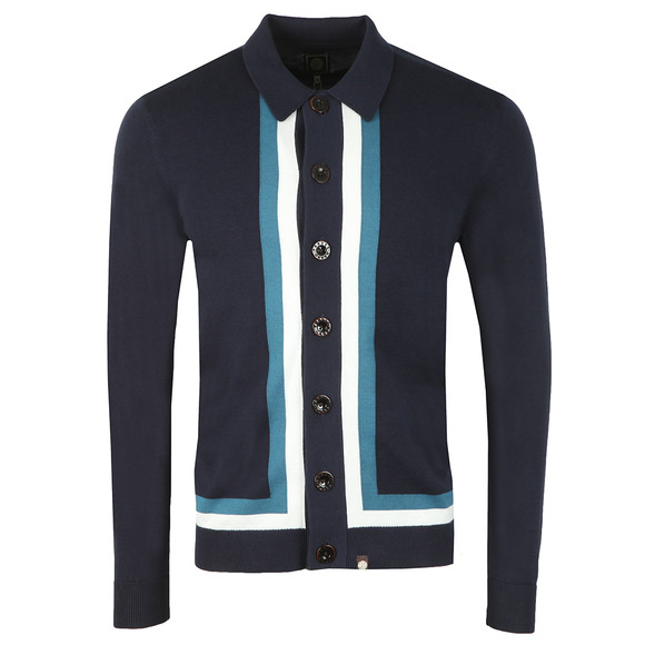 Pretty Green Mens Blue Contrast Panel Knitted Shirt main image