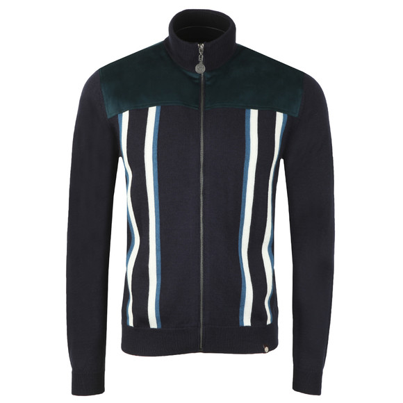 Pretty Green Mens Blue Zip Through Knitted Neck Sweat
