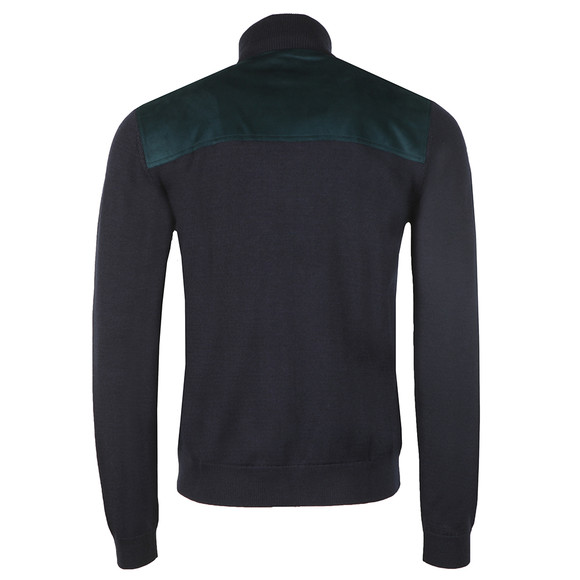 Pretty Green Mens Blue Zip Through Knitted Neck Sweat main image