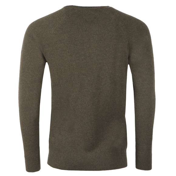 Barbour Beacon Mens Green Lambswool Crew Jumper main image