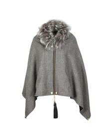 Holland Cooper Womens Grey Tweed & Fur Wrap