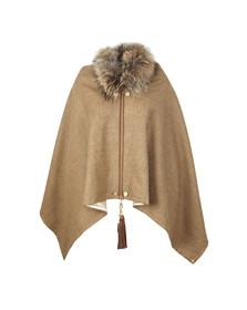Holland Cooper Womens Beige Tweed & Fur Wrap