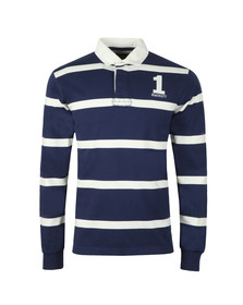 Hackett Mens Blue Inch Stripe Rugby Shirt