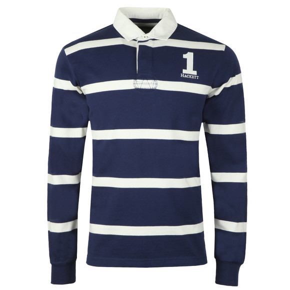 Hackett Mens Blue Inch Stripe Rugby Shirt main image