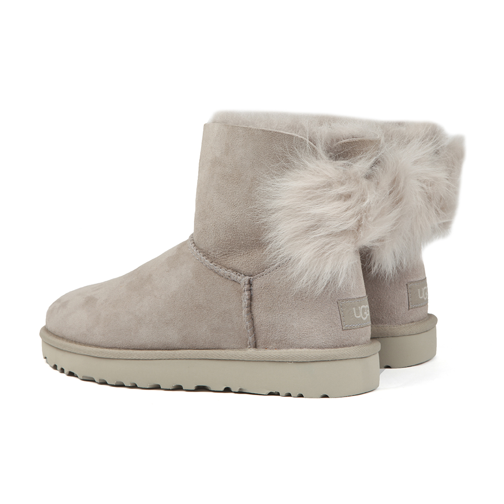82f180acadd Womens Grey Fluff Bow Mini Boot