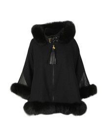 Holland Cooper Womens Black Gold Label Fur Cape
