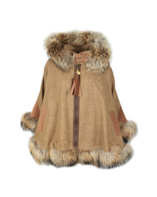 Holland Cooper Womens Beige Gold Label Fur Cape