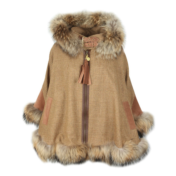 Holland Cooper Womens Beige Gold Label Fur Cape main image