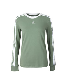 Adidas Originals Womens Green 3 Stripes Long Sleeve T Shirt