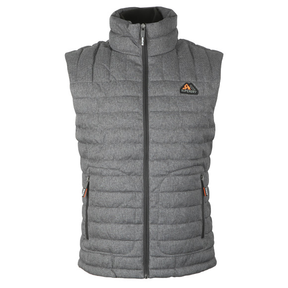 Superdry Mens Grey Double Zip Tweed Fuji Vest main image