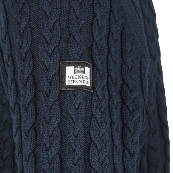 Weekend Offender Mens Blue Monzon Cable Jumper main image