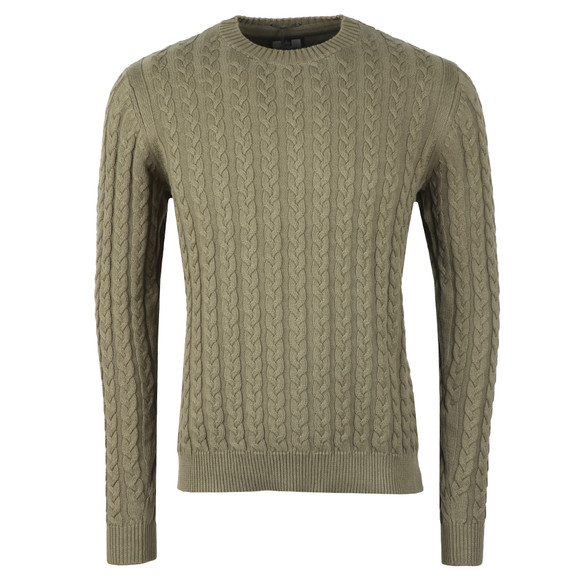 Weekend Offender Mens Green Monzon Cable Jumper main image