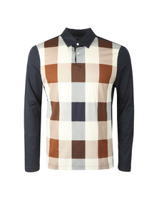 Aquascutum Mens Blue Abner Large Club Check Long Sleeve Polo Shirt