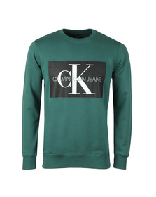 Calvin Klein Jeans Mens Green Monogram Logo Sweat