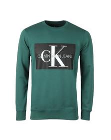 Calvin Klein Jeans Mens Green Monogram Logo Sweatshirt