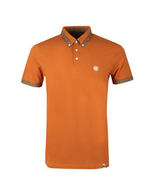 Pretty Green Mens Orange Printed Trim Collar Polo