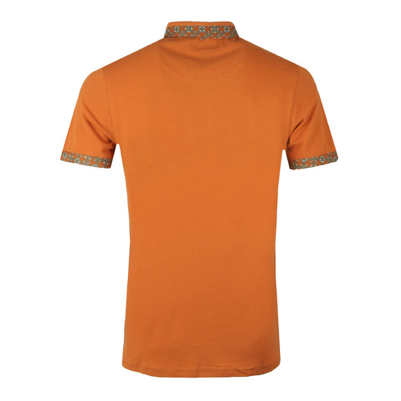 Pretty Green Mens Orange Printed Trim Collar Polo main image