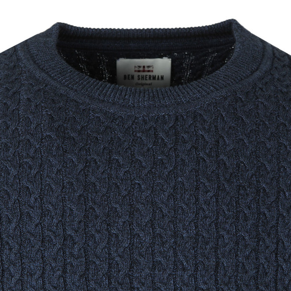 Ben Sherman Mens Blue Mouline Crew Neck Jumper main image