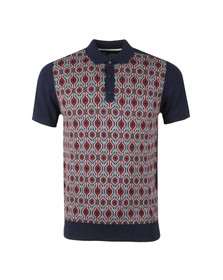 Ben Sherman Mens Blue Birdseye Jacquard Knit Polo