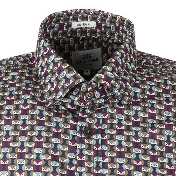 Ben Sherman Mens Brown LS Geo Owl Shirt main image