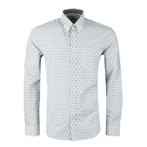 Ben Sherman Mens Off-White LS Distressed Wallpaper Shirt main image
