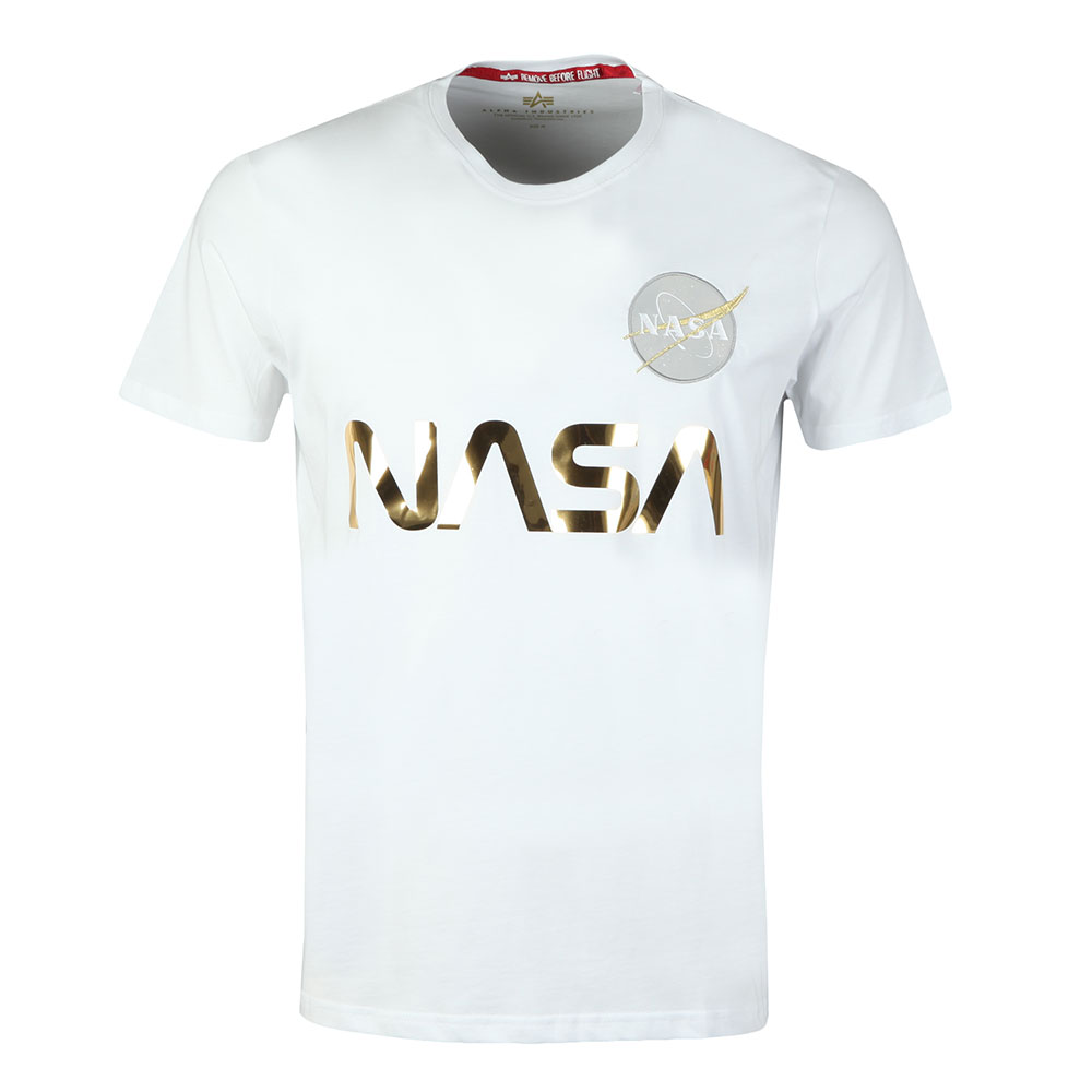 super popular c007e aa717 Mens White NASA Reflective T Shirt
